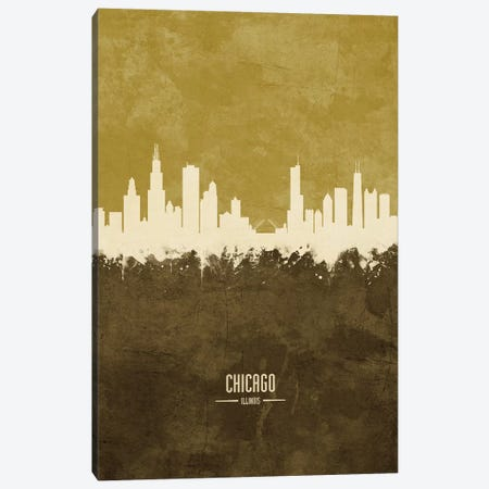 Chicago Illinois Skyline Ochre Canvas Print #MTO2411} by Michael Tompsett Canvas Print