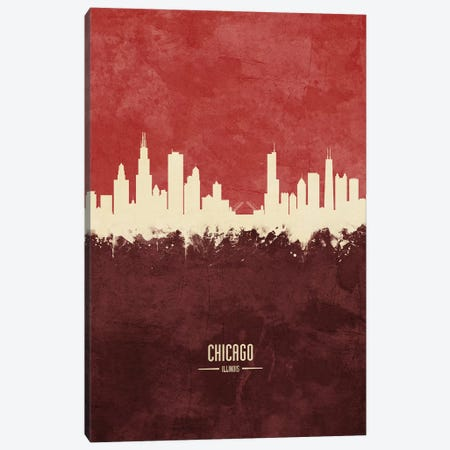 Chicago Illinois Skyline Burgandy Canvas Print #MTO2412} by Michael Tompsett Canvas Print