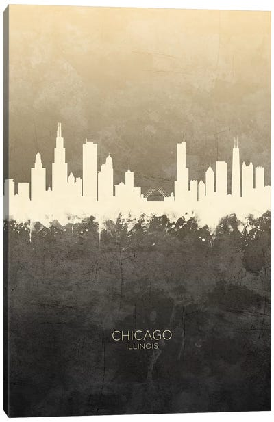 Chicago Illinois Skyline Taupe Canvas Art Print