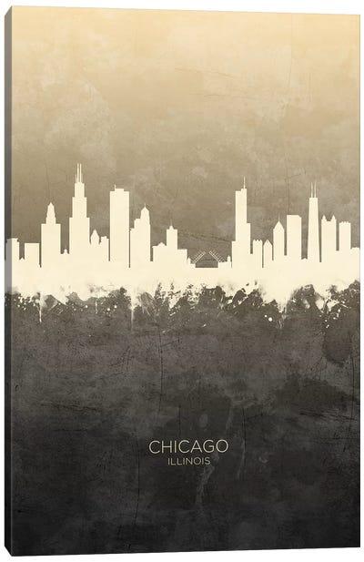 Chicago Illinois Skyline Taupe Canvas Art Print