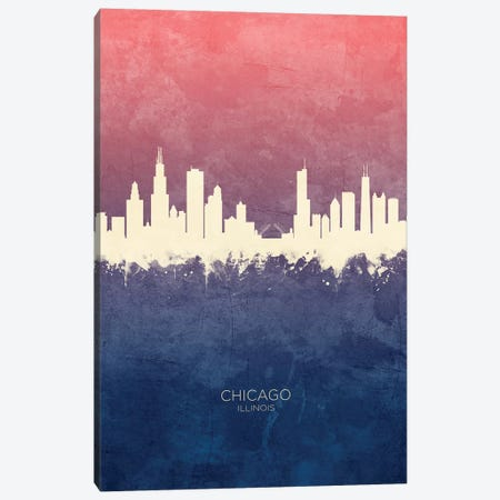 Chicago Illinois Skyline Blue Rose Canvas Print #MTO2416} by Michael Tompsett Canvas Wall Art