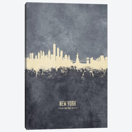 New York New York Skyline Grey Canvas Print #MTO2418} by Michael Tompsett Canvas Print