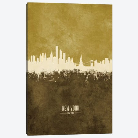 New York New York Skyline Ochre Canvas Print #MTO2419} by Michael Tompsett Canvas Print
