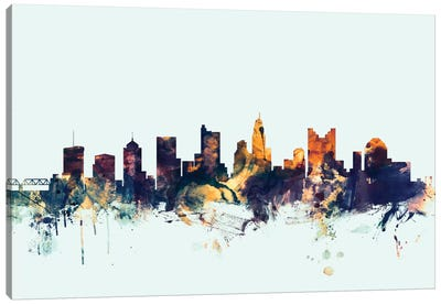 Columbus, Ohio, USA On Blue Canvas Art Print