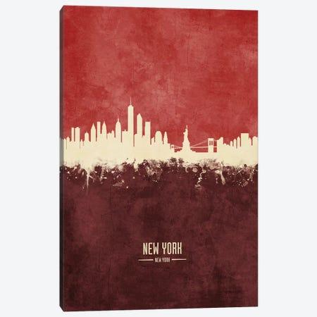 New York New York Skyline Burgandy Canvas Print #MTO2420} by Michael Tompsett Canvas Art