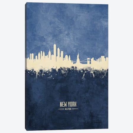New York New York Skyline Navy Canvas Print #MTO2421} by Michael Tompsett Canvas Art