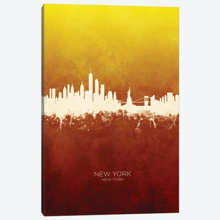 New York New York Skyline Red Gold Canvas Print #MTO2422} by Michael Tompsett Canvas Artwork