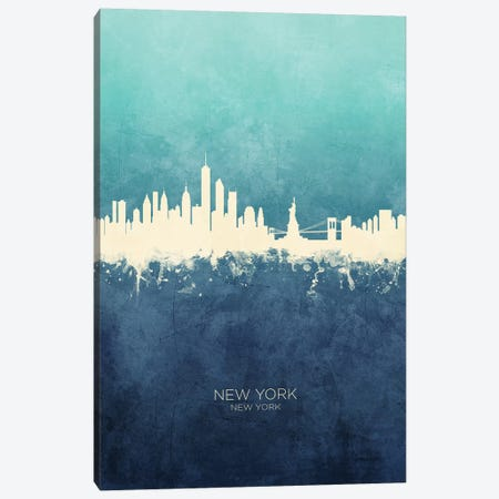 New York New York Skyline Navy Cyan Canvas Print #MTO2424} by Michael Tompsett Canvas Print