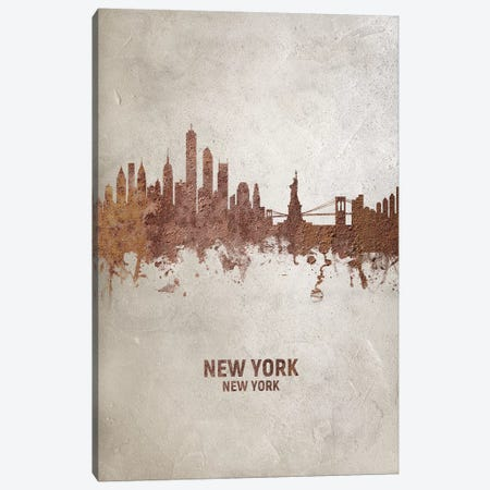 New York New York Skyline Rust Canvas Print #MTO2426} by Michael Tompsett Art Print