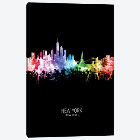 New York Skyline Portrait Rainbow Black Canvas Print #MTO2427} by Michael Tompsett Art Print