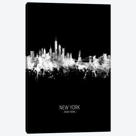 New York Skyline Portrait White On Black Canvas Print #MTO2428} by Michael Tompsett Canvas Art