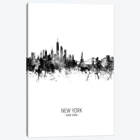 New York Skyline Portrait Black And White Canvas Print #MTO2429} by Michael Tompsett Canvas Wall Art