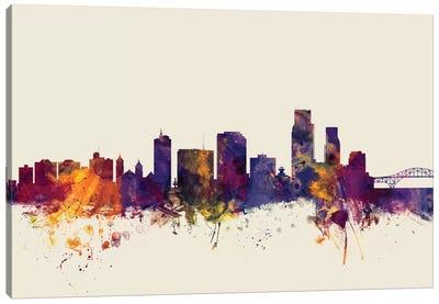 Skyline Series: Corpus Christie, Texas, USA On Beige Canvas Print #MTO242
