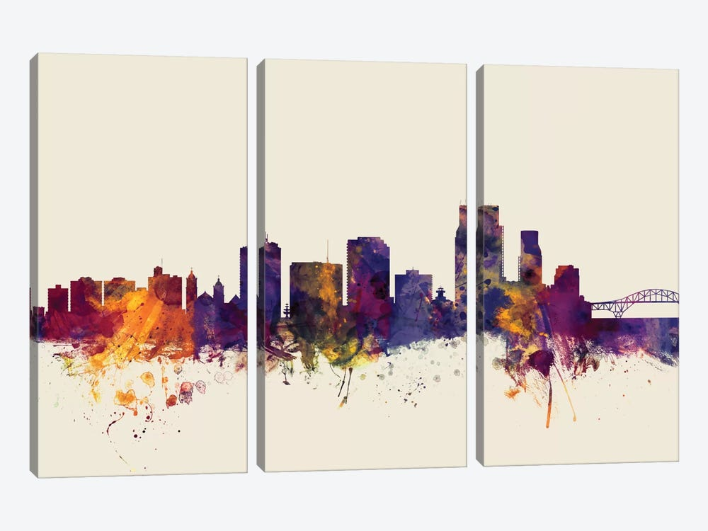 Corpus Christie, Texas, USA On Beige by Michael Tompsett 3-piece Canvas Artwork