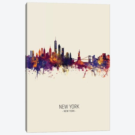 New York Skyline Fall Canvas Print #MTO2430} by Michael Tompsett Canvas Art Print