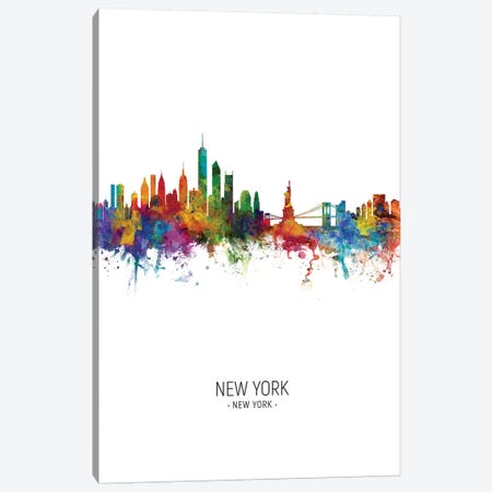 New York Skyline Portrait Canvas Print #MTO2431} by Michael Tompsett Art Print