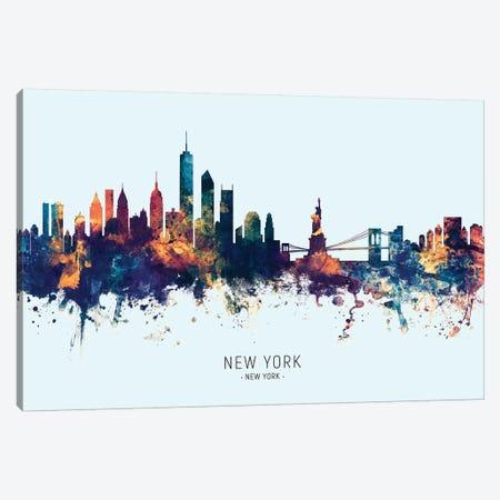 New York Skyline Blue Orange Canvas Print #MTO2432} by Michael Tompsett Canvas Art Print