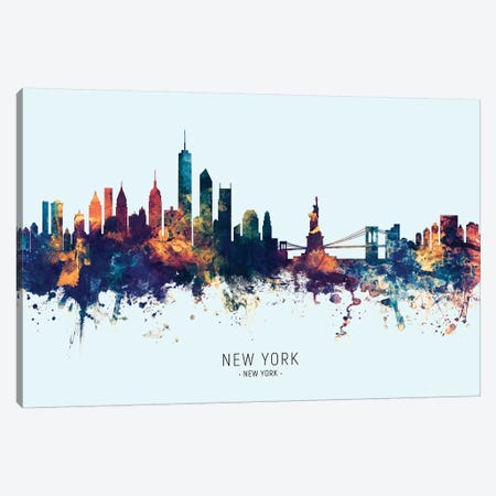 New York Skyline Blue Orange Canvas Print #MTO2432} by Michael Tompsett Canvas Art Print