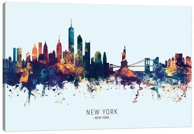 New York Skyline Blue Orange Canvas Art Print