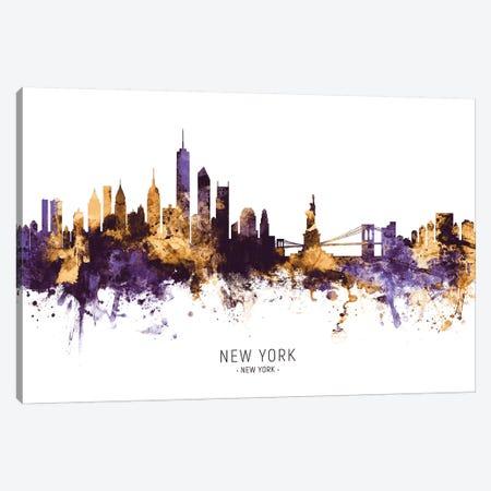 New York Skyline Purple Gold Canvas Print #MTO2433} by Michael Tompsett Canvas Art Print
