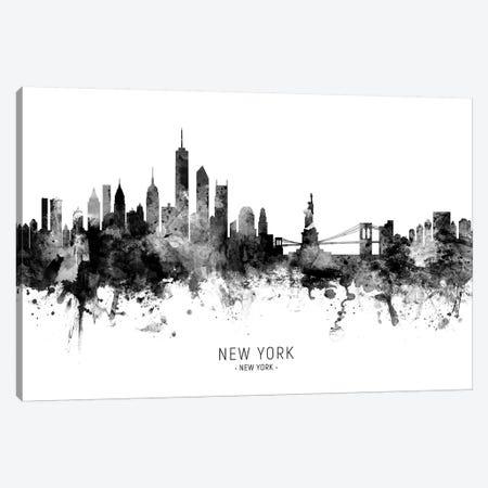 New York Skyline Black And White Canvas Print #MTO2434} by Michael Tompsett Canvas Art