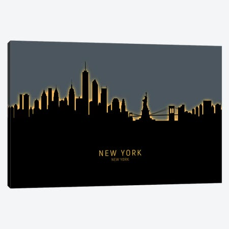 New York Skyline Glow Orange Canvas Print #MTO2435} by Michael Tompsett Canvas Wall Art