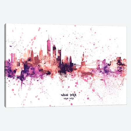 New York Skyline Splash Pink Canvas Print #MTO2437} by Michael Tompsett Canvas Artwork