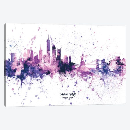 New York Skyline Splash Purple Canvas Print #MTO2438} by Michael Tompsett Canvas Art Print
