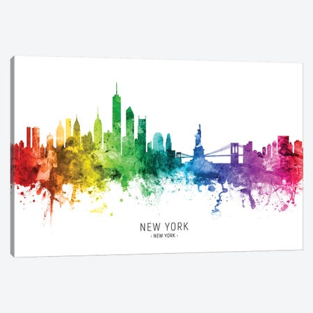 New York Skyline Rainbow Canvas Print #MTO2439} by Michael Tompsett Canvas Print
