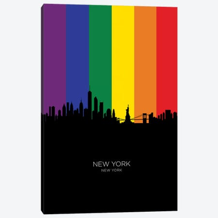 New York Skyline Rainbow Flag Canvas Print #MTO2440} by Michael Tompsett Canvas Wall Art