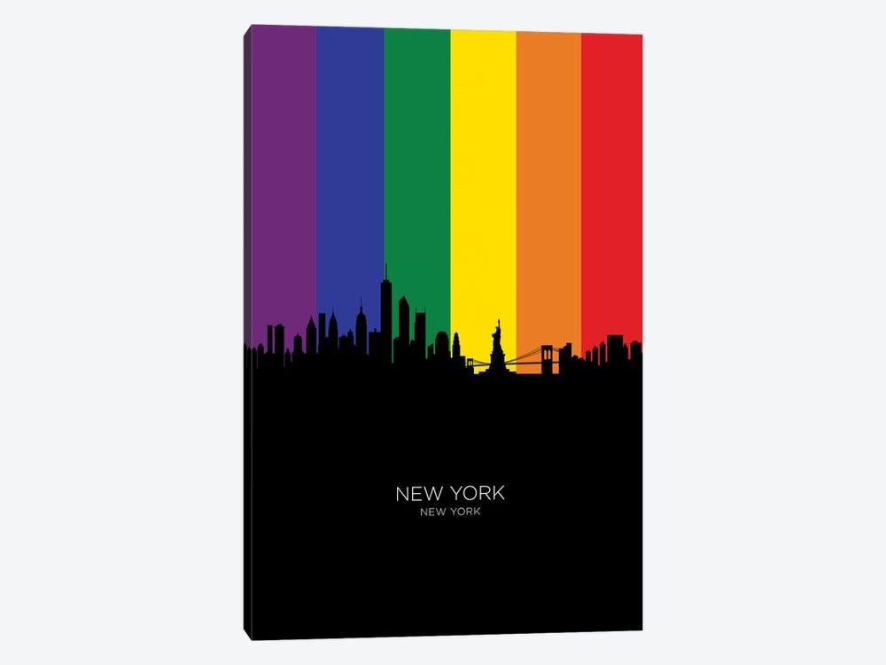 New York Skyline Rainbow Flag by Michael Tompsett 1-piece Canvas Art