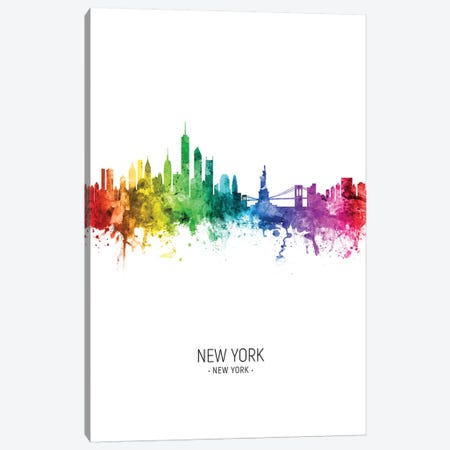 New York Skyline Rainbow Tall Canvas Print #MTO2441} by Michael Tompsett Canvas Artwork