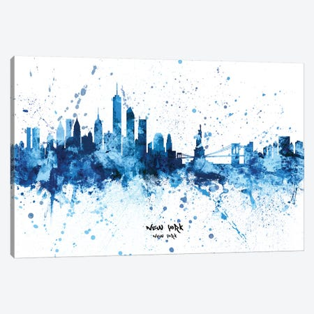 New York Skyline Splash Blue Canvas Print #MTO2442} by Michael Tompsett Canvas Art