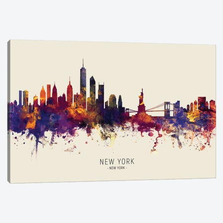 New York Skyline Red Beige Canvas Print #MTO2443} by Michael Tompsett Canvas Art