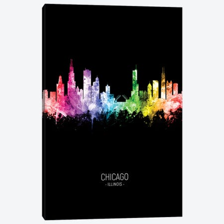 Chicago Illinois Skyline Portrait Rainbow Black Canvas Print #MTO2444} by Michael Tompsett Canvas Print