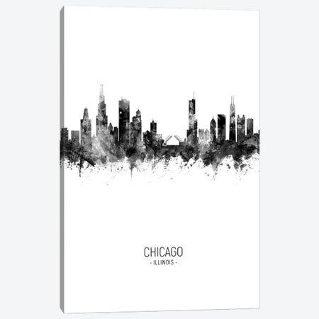 Chicago Illinois Skyline Portrait Black And White Canvas Print #MTO2445} by Michael Tompsett Canvas Art Print