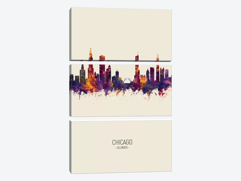 Chicago Illinois Skyline Fall by Michael Tompsett 3-piece Canvas Wall Art
