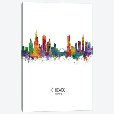 Chicago Illinois Skyline Portrait Canvas Print #MTO2447} by Michael Tompsett Canvas Print