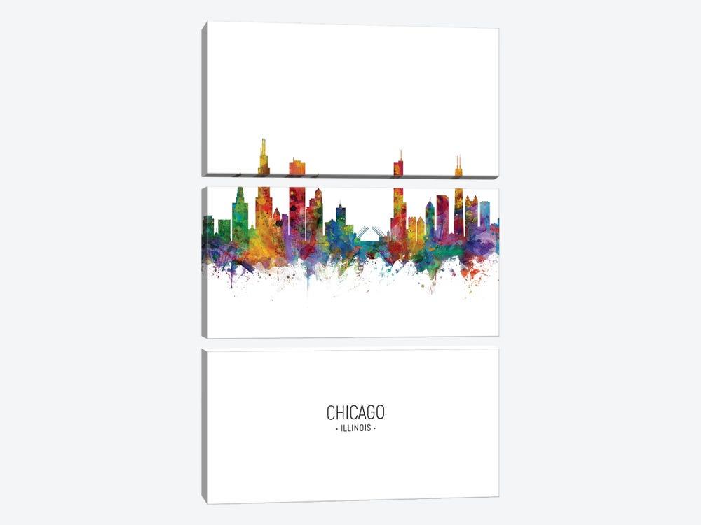 Chicago Illinois Skyline Portrait by Michael Tompsett 3-piece Canvas Art Print