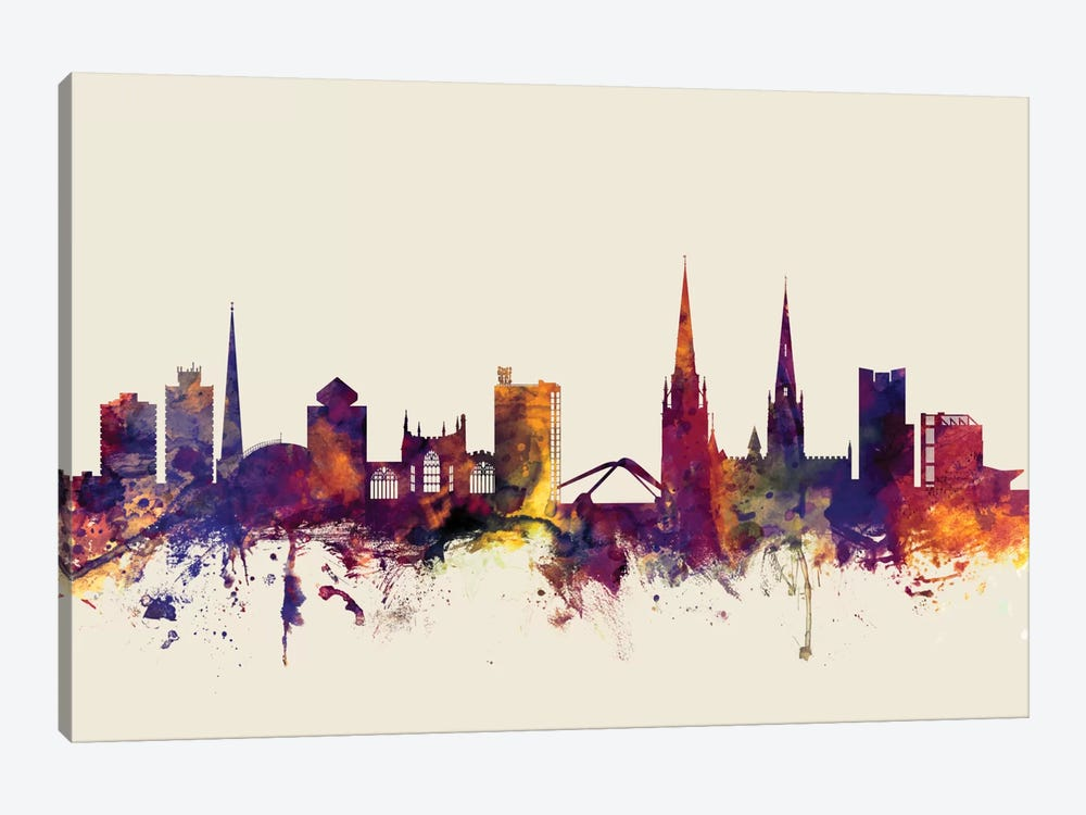 Skyline Series: Coventry, England, United Kingdom On Beige by Michael Tompsett 1-piece Canvas Artwork