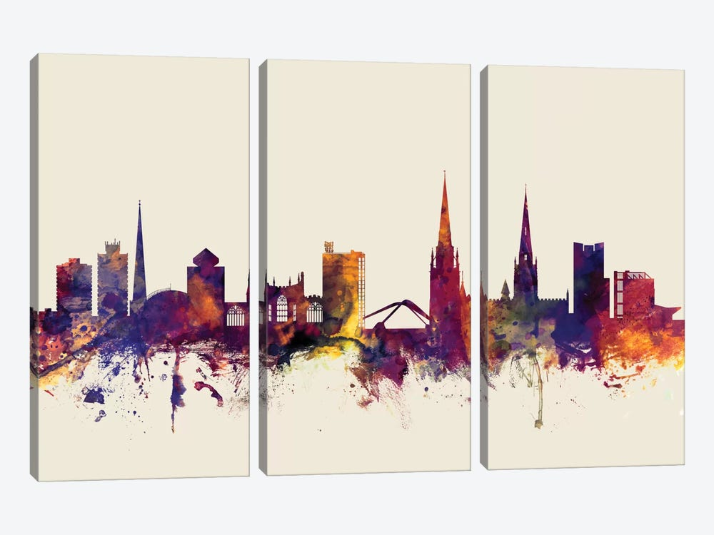 Skyline Series: Coventry, England, United Kingdom On Beige by Michael Tompsett 3-piece Canvas Art