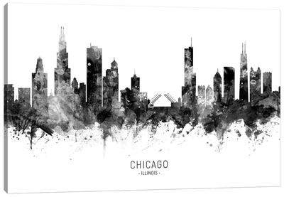Chicago Illinois Skyline Black And White Canvas Art Print