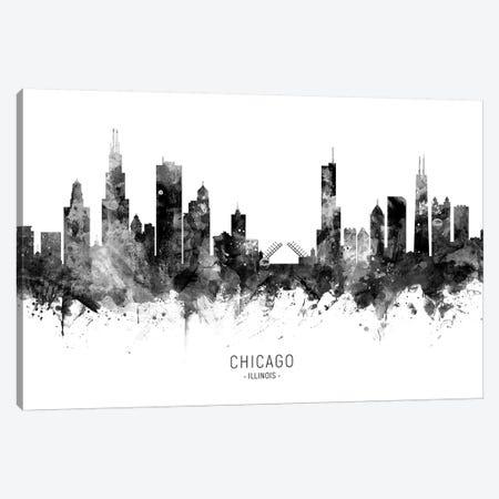 Chicago Illinois Skyline Black And White Canvas Print #MTO2450} by Michael Tompsett Art Print