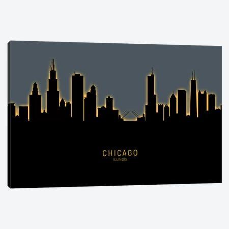 Chicago Illinois Skyline Glow Orange Canvas Print #MTO2451} by Michael Tompsett Canvas Print