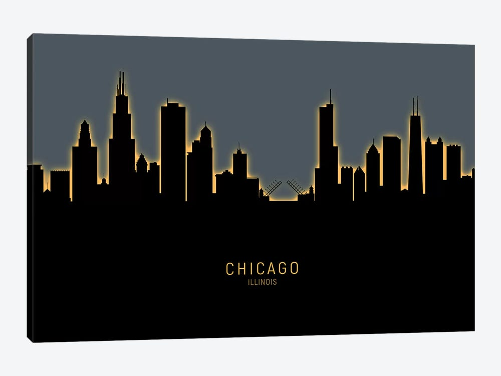 Chicago Illinois Skyline Glow Orange by Michael Tompsett 1-piece Canvas Wall Art