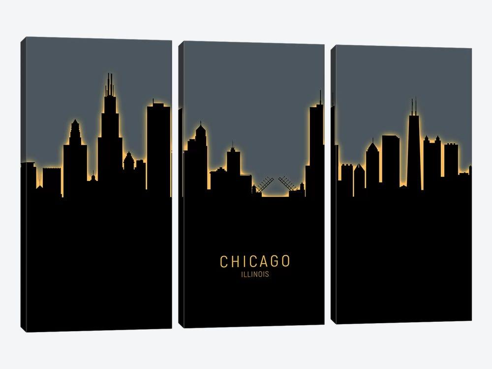 Chicago Illinois Skyline Glow Orange by Michael Tompsett 3-piece Canvas Art