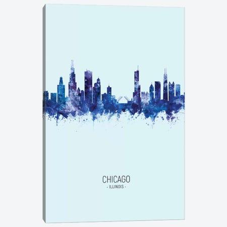 Chicago Illinois Skyline Portrait Dark Blue Canvas Print #MTO2452} by Michael Tompsett Canvas Print