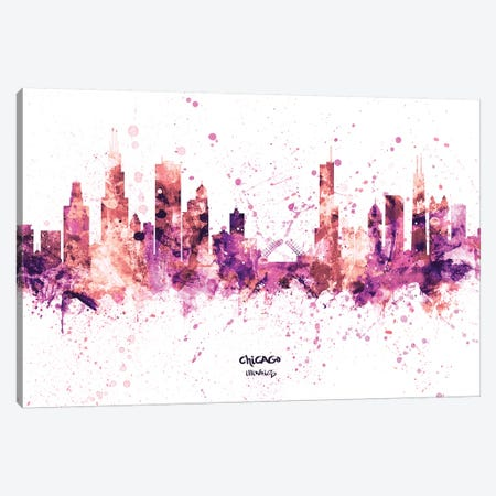 Chicago Illinois Skyline Splash Pink Canvas Print #MTO2453} by Michael Tompsett Canvas Print