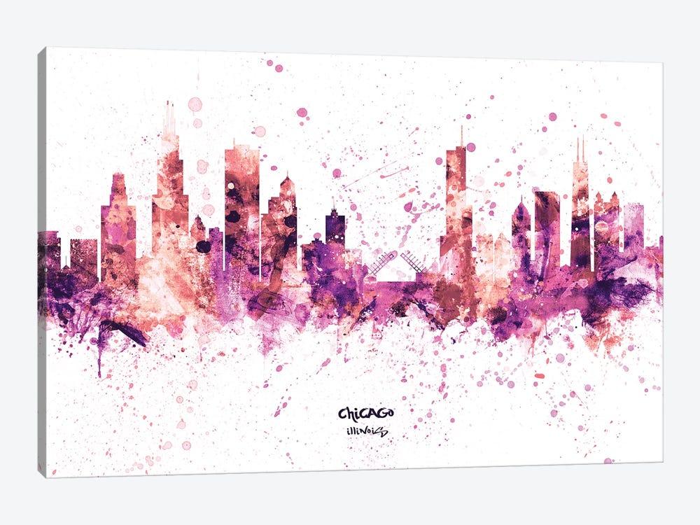 Chicago Illinois Skyline Splash Pink by Michael Tompsett 1-piece Canvas Art