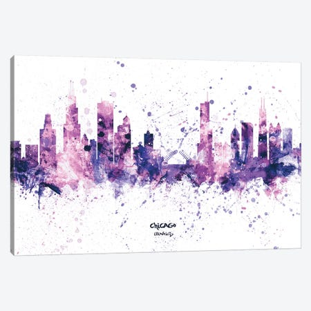Chicago Illinois Skyline Splash Purple Canvas Print #MTO2454} by Michael Tompsett Canvas Art